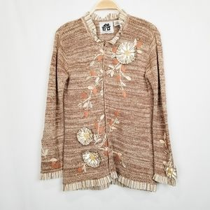 Storybook Knits | Floral Foliage Applique Cardigan